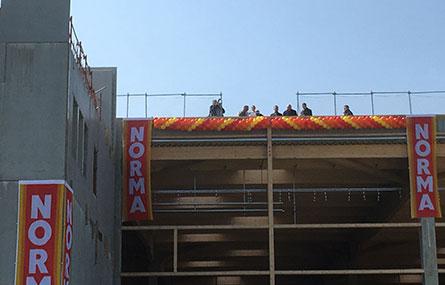 Inauguration du gros oeuvre du chantier Norma France à Sarrebourg