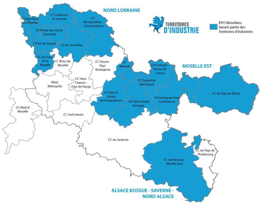 Carte Territoires d'Industrie